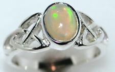 Natural Fire OPAL Sterling SILVER Celtic Ring Gemstone 925; Size L, 5½ upto Z,12