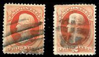 """Sc #178/183 """"Bars & Grid"""" Fancy Cancel SON 2 Cent 1875-79 US 72C71"""