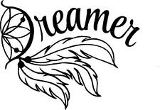 Word dreamer in a dream catcher  wall vinyl decal  or car decal