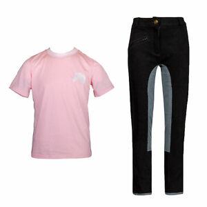 Reitset Linda Reithose mit rosa T- Shirt Pferdekopf gestickt MS-Trachten