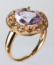Lavender Amethyst Ring with Diamond in 14k Rose Gold (Dia 0.12ct)