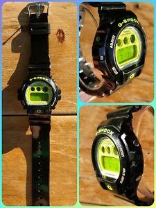 Casio G-Shock DW-6900CS-1 1289 Black/Green Digital Watch EUC!! NO RSRV! New Batt