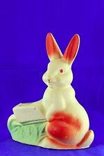 VINTAGE LARGE EGG CRATE EASTER RABBIT PUSHING WHEEL BARROW CANDY CONTAINER