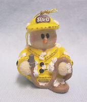 "CHRISTMAS ORNAMENT Snowman Figurine Collectible Fireman Ornament 1 3/4"" Tall A1"