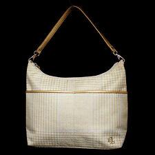LAUREN RALPH LAUREN Metallic Gold 337 LBO Houndstooth Shoulder Bag