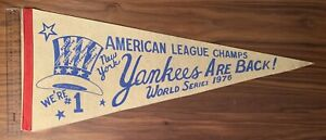 1976 Original Full-Sized World Series New York Yankees Pennant w/ Thurman Munson