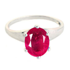 Oval Cut 1.70Ct Natural Red Ruby Solitaire Women's Ring In 14KT Solid White Gold