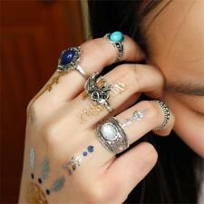 Femmes Bohemian Elephant Blue Stone Argent Knuckle Midi Ring Bijoux 5PCs / Set