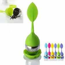 Ball Shape Silicone Tea Leaf Filter Strainer Herbal Spice Stainless Infuser
