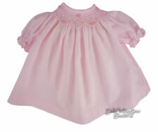 Pink Hand-Smocked Dress w/ Embroidered Roses fits Bitty Baby Doll Clothes