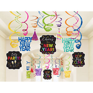 30 x New Year Hanging Swirl Party Decorations Bright Jewel Colours - BUMPER PACK