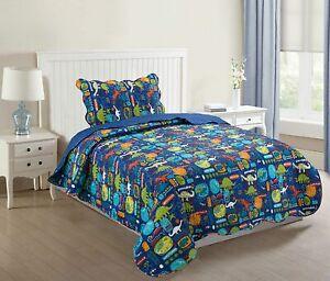 Kids Bedspread Quilts Set for Teens Boys Girls Bedding Set, 057 Dinosaur Twin
