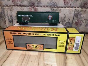 Rare MTH RailKing 30-74801-TAG Green Weirton Steel 40' Boxcar w/asset Tag C-8.