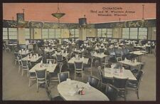 Postcard MILWAUKEE Wisconsin/WI  Chinatown Restaurant Interior view 1930's