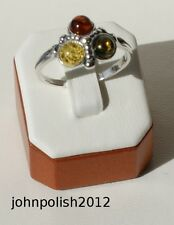Three Stones Multicolour Baltic Amber Ring Silver 925.