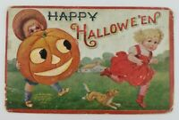 Postcard Happy Halloween Boy Big Pumpkin Jack O Lantern Scaring Girl Dog 1908