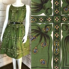 Vintage 50s 60s Mode ODay Green Geometric Floral Abstract Filigree Day Sun Dress