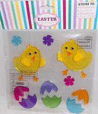 Easter Gel Window Stick -Ons CHICKS WITH EASTER EGGS