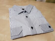 Mens White Blue Striped Long Sleeve Smart Casual BURTON Shirt