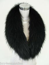 "Black Real Raccoon Fur Collar scarf wrap shawl winter neck warmer 43""inch F05"