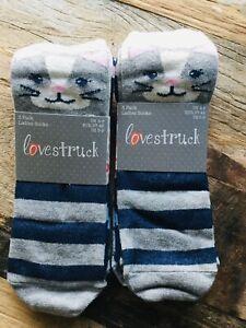 2 X Packs Lovestruck Cat Kitty Novelty Socks Womens Size 4 - 8 (2 X Packs Of 3)