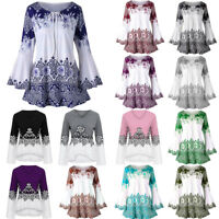 S-5XL Plus Size Print Keyhole Tunic T-shirt Long Sleeve Tee Top Blouse For Women