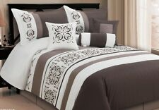 Luxurious 7pcs King Embroided Comforter Set  Choc Brown White