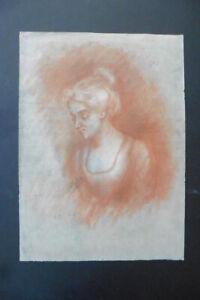 FRENCH SCH. 19thC - INTIMISTIC PORTRAIT OF A WOMAN SIGN. DE LA MOTTE - RED CHALK