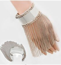 Silver Wide Chunky Fringe Showgirl Chain Cuff Bracelet Bangle Metal Costume