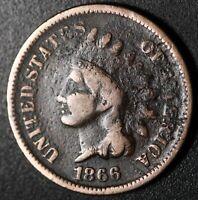 1866 INDIAN HEAD CENT - FINE Details