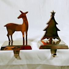 Christmas Stocking Holders Tree And Deer Metal Heavy Lot of 2