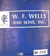 W F Wells F-15, BF-24 Barfeed Console Metering Valve Operation Maintenace Manual