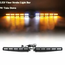 """34"""" LED Emergency Amber Visor Dash Deck Split w/ White Take Down Strobe Lightbar"""