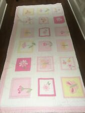 Pottery Barn Kids Pink Yellow Spring Butterfly Flower Double Quilt 2 Std Shams