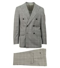 NWT CARUSO Light Gray Check Wool Blend Double Breasted Suit 48/38 R Drop 7
