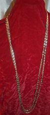 Gold Tone Tone Metal Interlooped Chain Double Strand Necklace