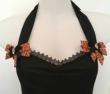 Rockabilly Halter top Leopard bows Diamonte Skulls Sexy Pin-up Vintage size L