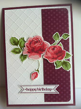 Handmade female birthday card with roses. Design #1 purple.