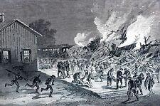 Revere Train Station Boston 1871 BANGOR EXPRESS FIRE Railroad Print Engraving