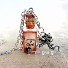Dragon Blood Magic Spell Mini Glass Bottle Necklace Charm w/ Real Moving Liquid