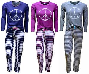 Damen Schlafanzug Pyjama, Baumwolle, 3 Farben, mit Motivdruck, Größen 36-50