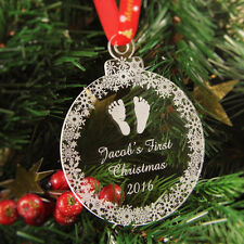 Personalised Christmas Tree Decoration Engraved Bauble Gift, Baby's 1st Xmas, Fe