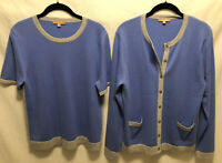 New! XL Kier + J2 100% Cashmere Cardigan Sweater Set 2 Pieces Blue/Gray