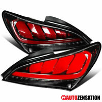 For 2010-2016 Hyundai Genesis Coupe Slick Black Sequential LED Tail Lights Lamps