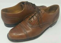 Cole Haan Mens Grand OS Cognac Brown Wingtip Oxford Dress Shoes 8.5D Made in USA