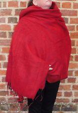 Chaud snug soft YAK laine style népalais de l'Himalaya couverture / grand châle: rouge & noir
