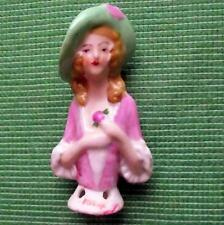 Vintage Art Deco Lady Ceramic Half Doll for Hat Pin Cushion Bouffant Hair Hat H