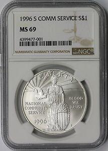 1996-S Community Service $1 NGC MS 69 - Modern Commemorative Silver Dollar