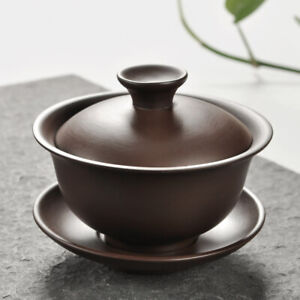 gaiwan zisha purple clay tureen cup bowl with saucer Chinese covered bowl lid