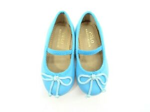Polo Ralph Lauren Toddler Girl's Nellie Blue Ballet Flat Shoes Size 4 Mary Jane